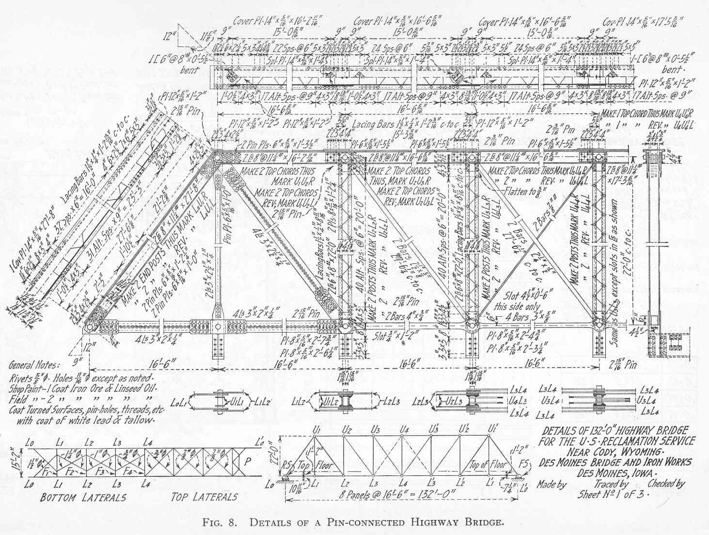Truss Bridge Plans And Parts Warren Diagram Component Inside Details Of A Pin Connected Thru Pratt Span